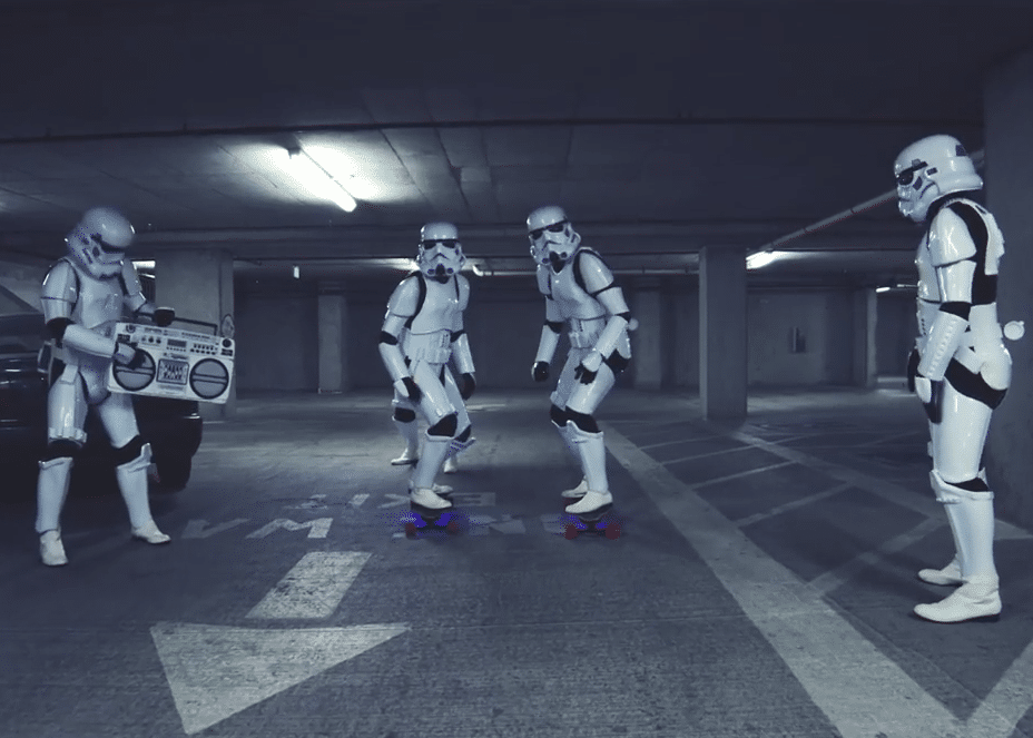 star wars stormtrooper skate longboard video
