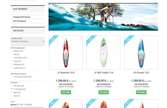 Neuer SUP Board Shop im Superflavor Proshop